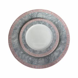 Серый мрамор с розовым кантом